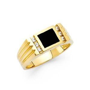 14K Yellow Gold Onyx Men's  CZ Ring Wedding Band